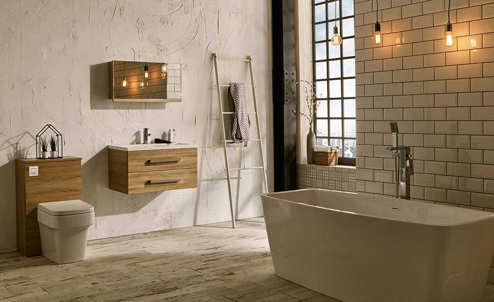 Luxury bathroom with timber wall hung furniture