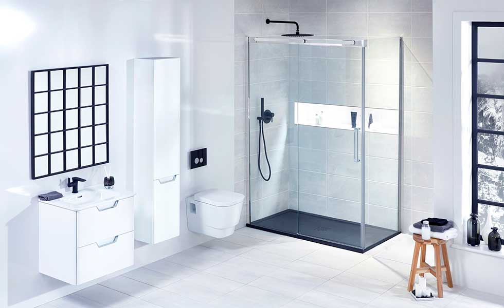 Contemporary walk in shower with wall hung toilet