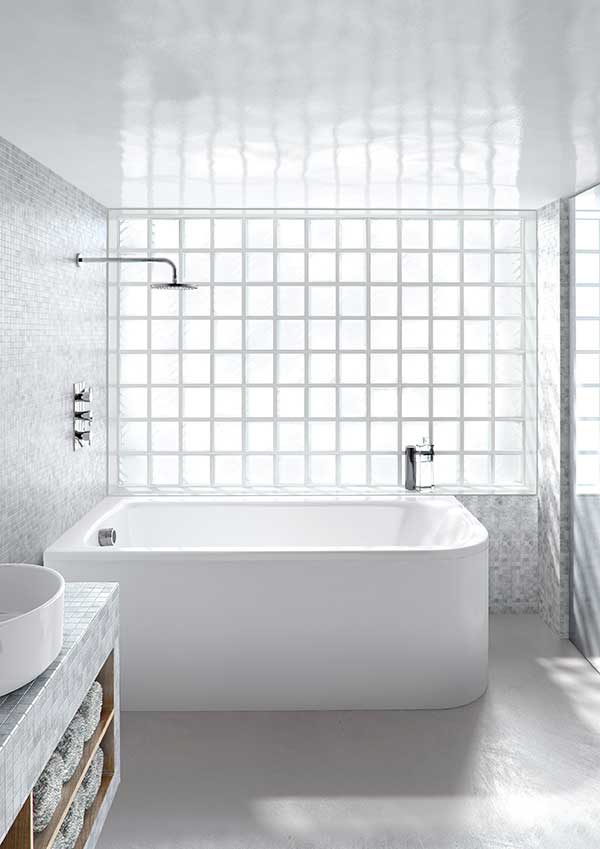 Compact bath with overhead shower and glass brick wall