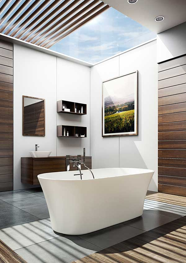 Contemporary bathroom with roof lantern and freestanding bath