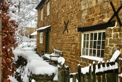 snow front door farmhouse