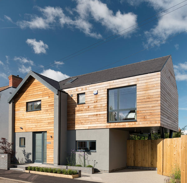 Timber-clad with render self build