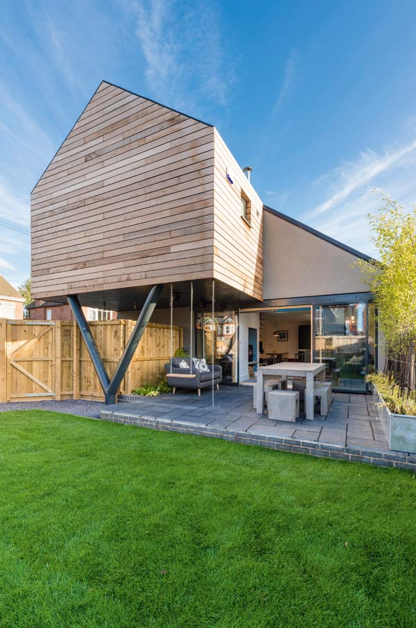 Contemporary self build with timber clad first floor