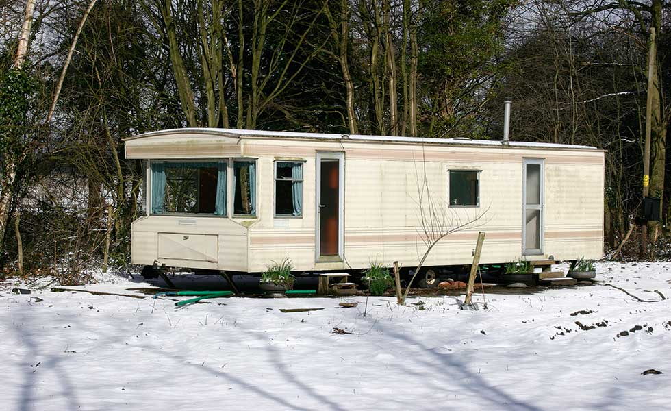 This caravan sits on site during the winter months