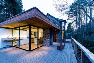 Rear Modernist-style extension to a converted mill
