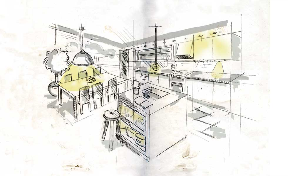 This diagram shows the different areas in a kitchen which would benefit from light