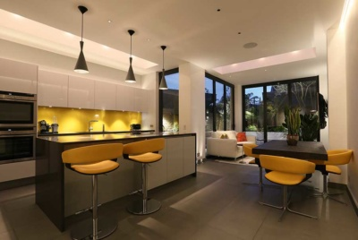 The lighting scheme in this kitchen was specified from John Cullen Lighting