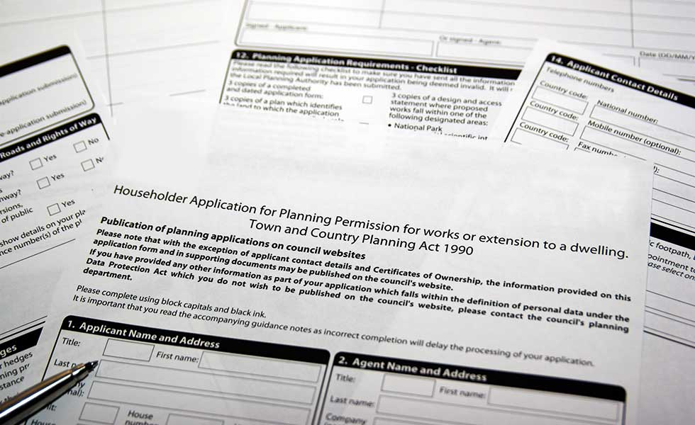 Planning permission application forms