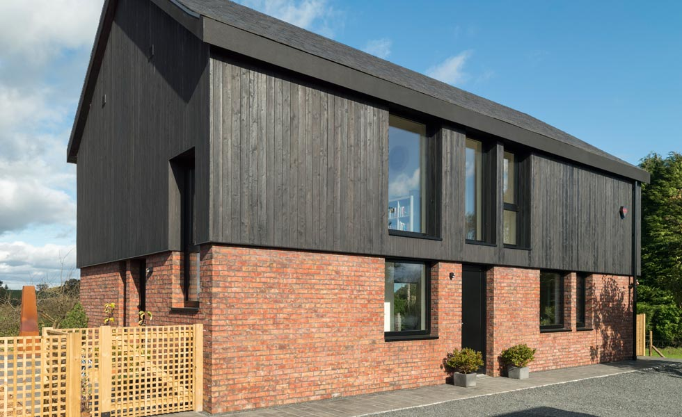 Shou Sugi Ban (charred timber) cladding on this contemporary self build