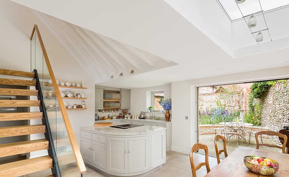 cottage kitchen with bifold doors