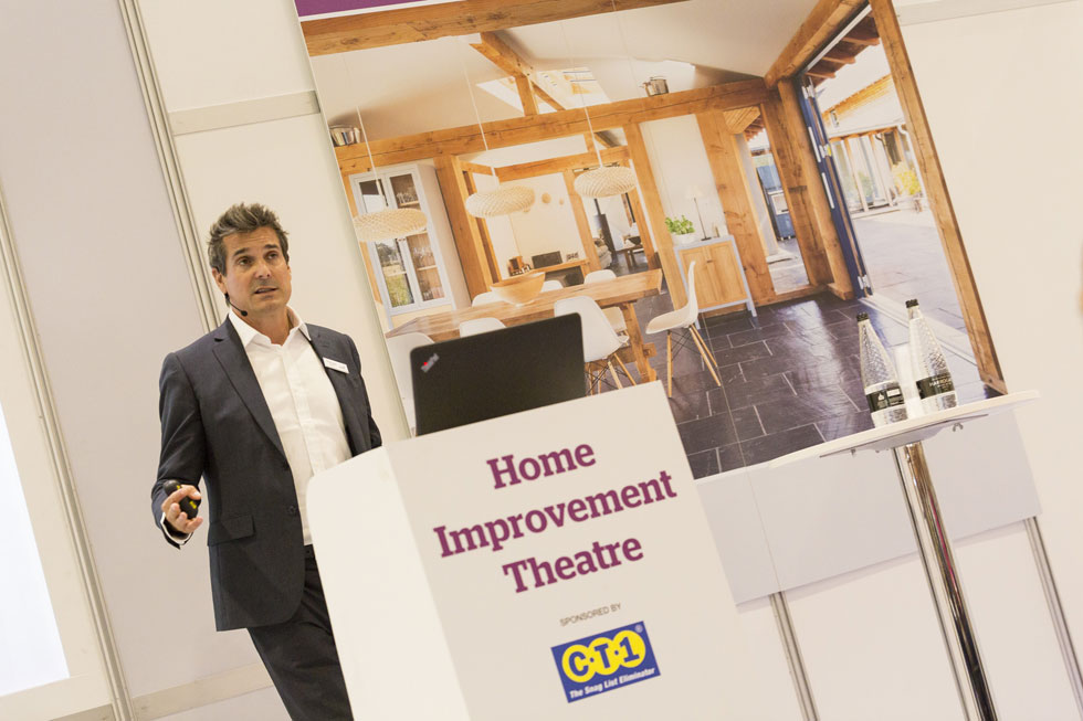 Michael Holmes speaking at the Homebuilding & Renovating Show