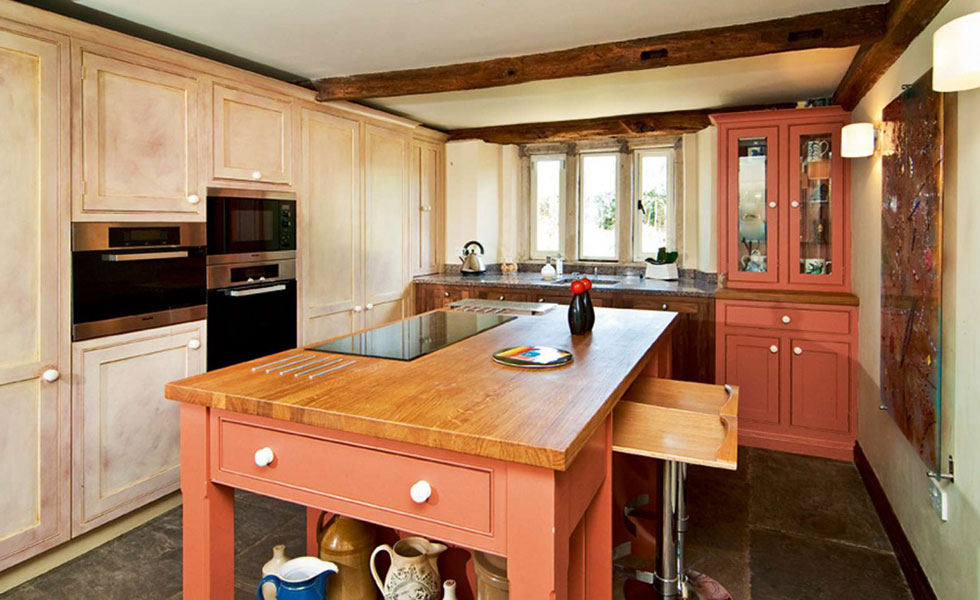 country style red kitchen