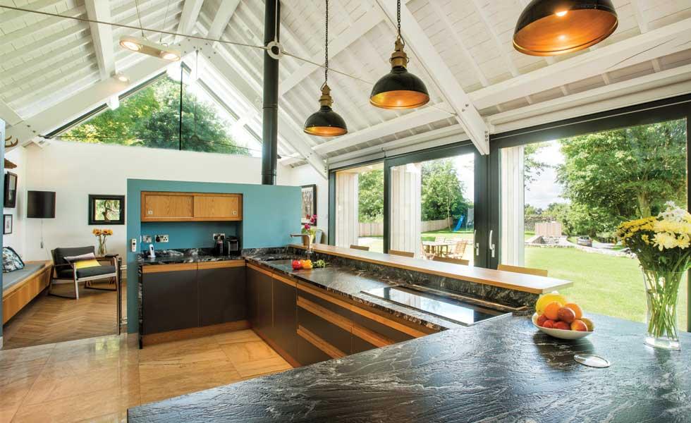 bar kitchen contemporary blue wall