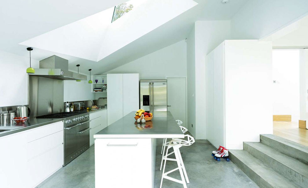 contemporary concrete stainless steel kitchen