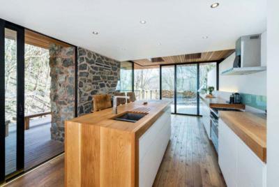 scandi style kitchen wood exposed stone