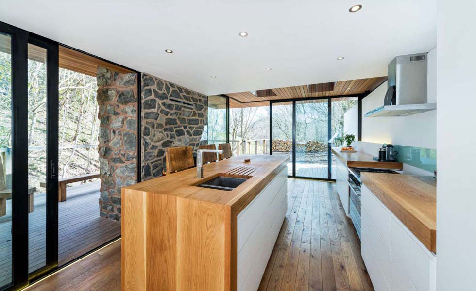 scandi style kitchen wood exposed stone