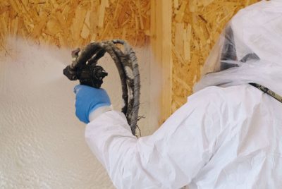 Installation of spray foam insulation