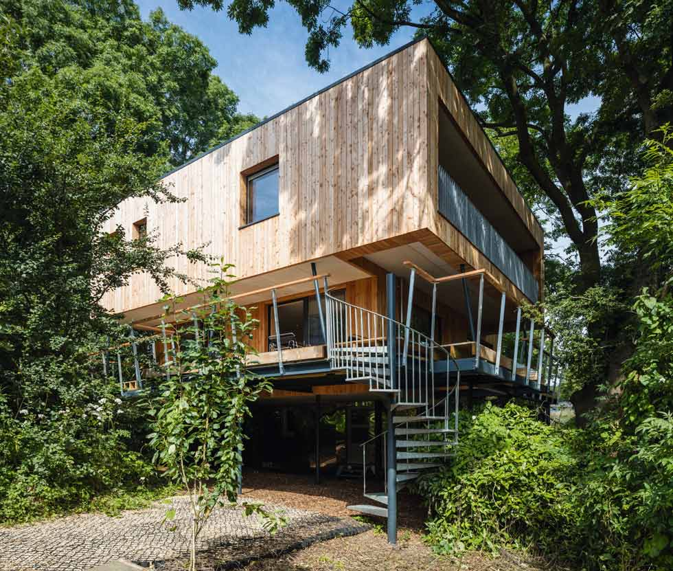 Passivhaus Treehouse self build features spray foam insulation