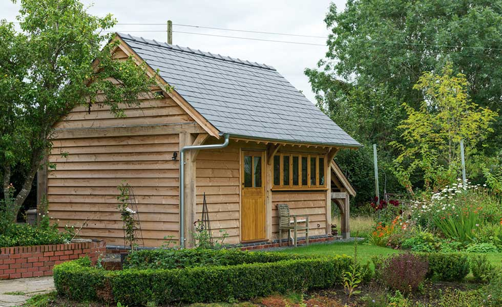 This garden room is from Border Oak and is clad in timber