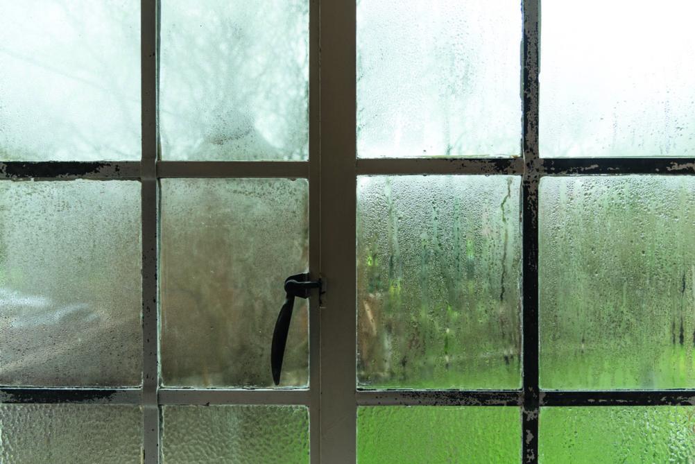 rainy window in cottage