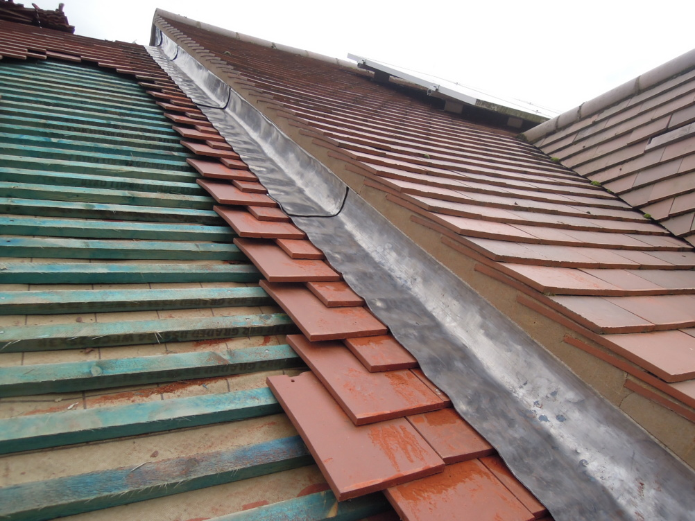 tiled roof with flashing installed