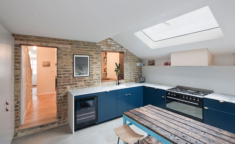 extended kitchen with marble worktop