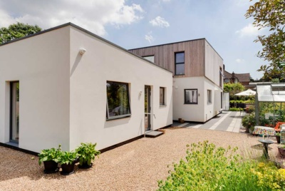 This contemporary self build was built with an annexe for the homeowner's mother