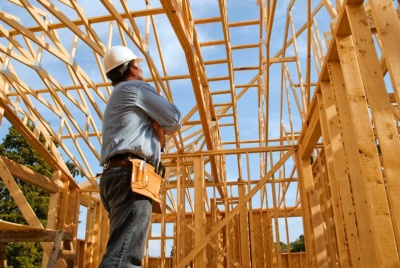 man assessing timber frame structure
