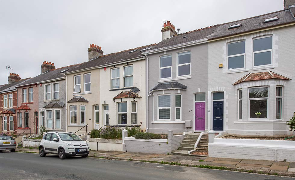 Terraced house with painted brickwork