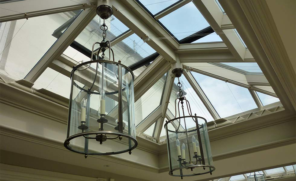 Large roof lantern with glass pendant lights