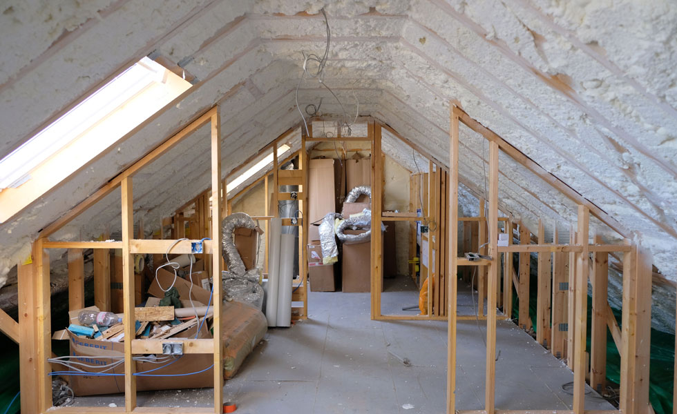 Spray foam insulation in a loft