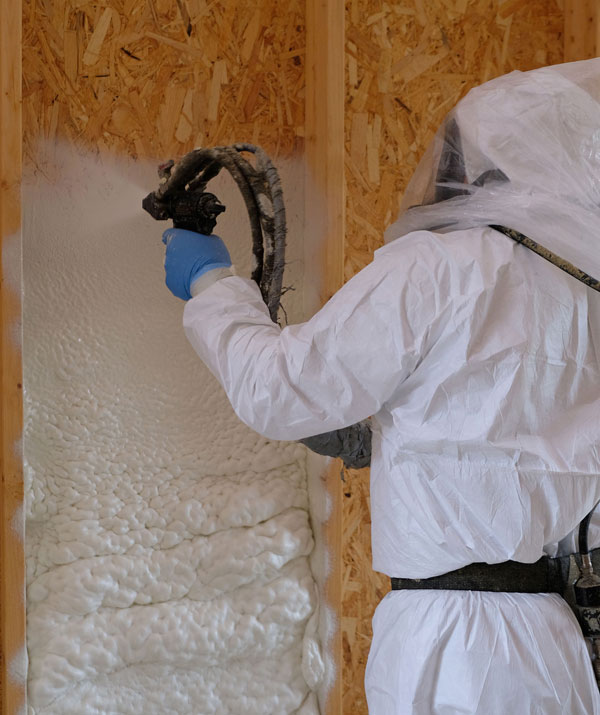 spray foam insulation being applied