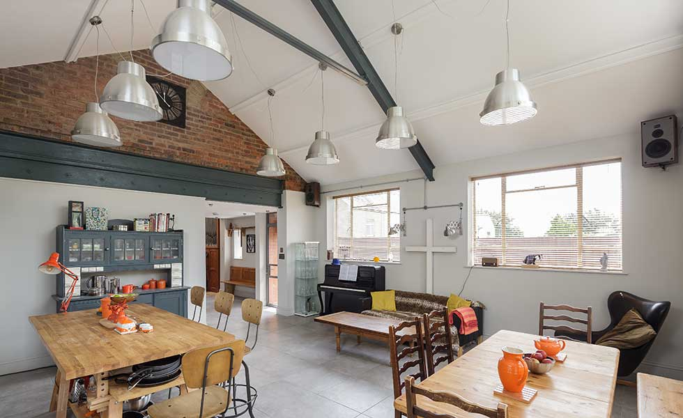 Kitchen with vaulted ceiling