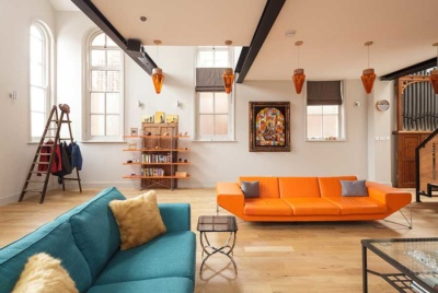 Living room in chapel conversion