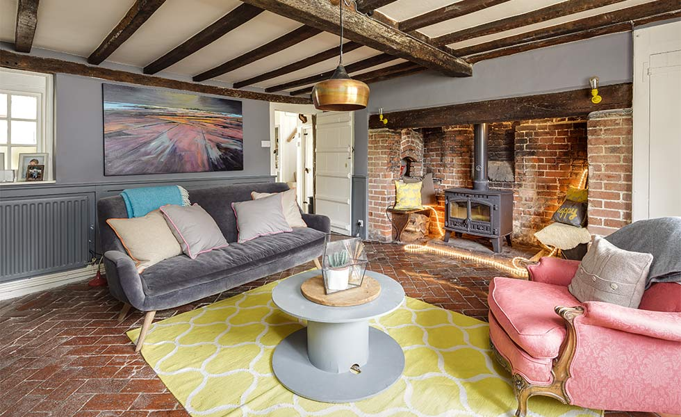 Farmhouse living room with inglenook