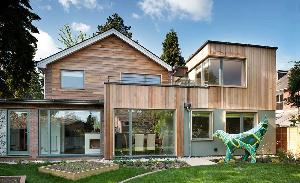 This timber frame extension was designed by PAD Studio