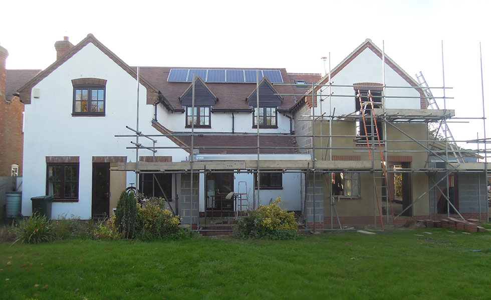 exterior of extension with scaffolding