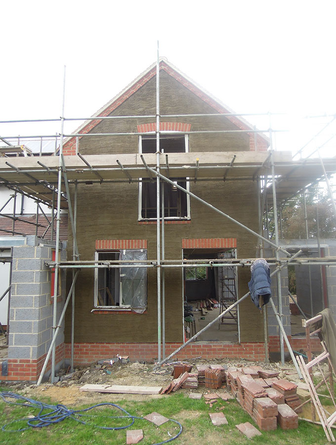 exterior of extension with white render