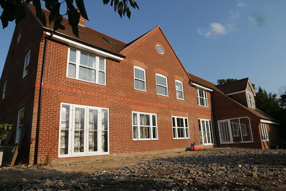 timber frame extension with brick facade