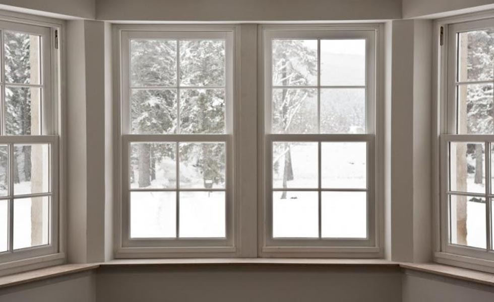 Timber sliding sash bay window