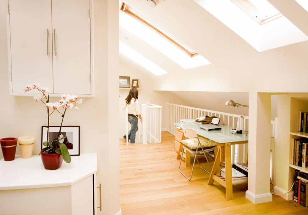 Loft conversion with staircase and rooflights