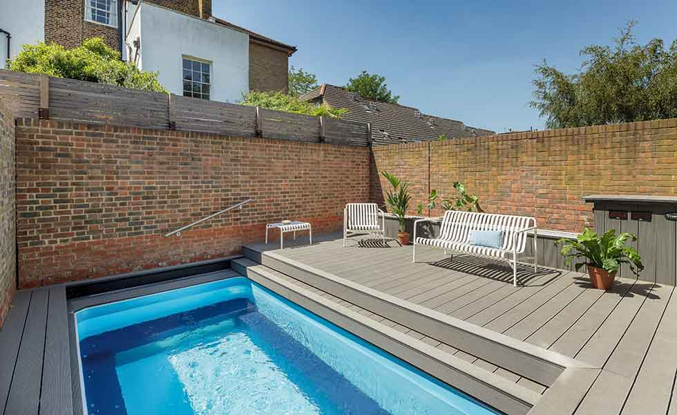 swimming pool in garden of Passivhaus in London