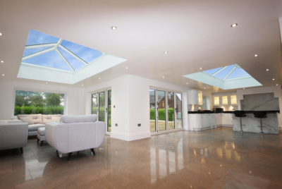 Two Korniche roof lanterns in flat roof extension