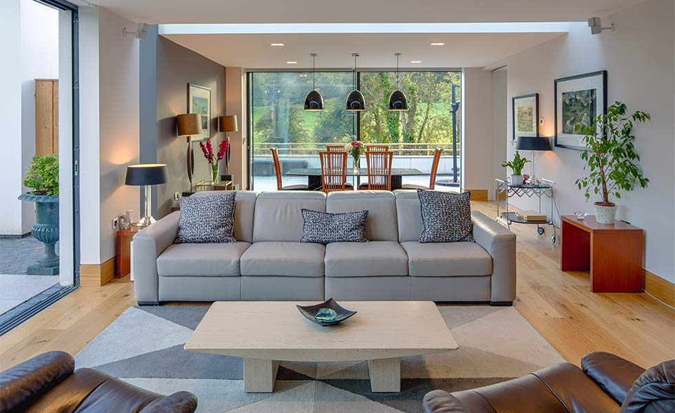 Contemporary open plan living room