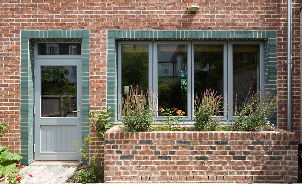 triple glazed windows in brick house