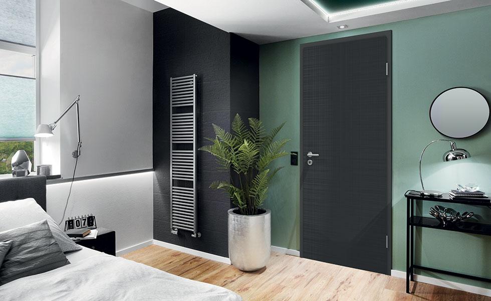 modern black door in contemporary bedroom