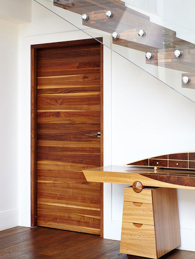raw wood door in modern home
