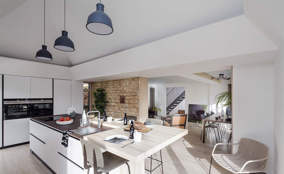 Open plan kitchen diner in renovation project