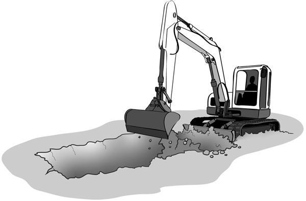Digger digging foundations