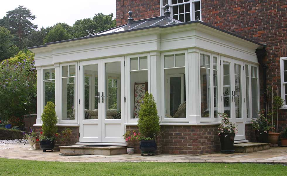 Brick and timber conservatory